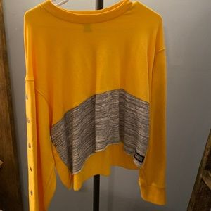 yellow and gray crop top sweatshirt